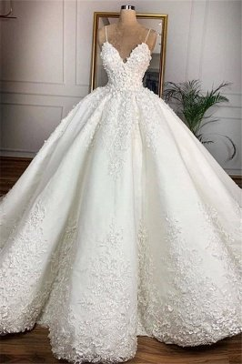 Gorgeous V-Neck Lace Appliques Spaghetti Ball Gown Wedding Dress 2020