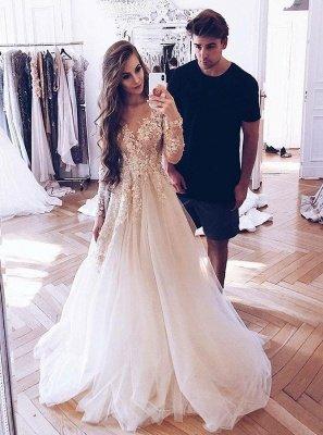 Гламурное V-образным вырезом с длинным рукавом из тюля с кружевными аппликациями Свадебное платье принцессы_3