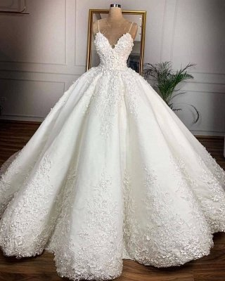 Gorgeous V-Neck Lace Appliques Spaghetti Ball Gown Wedding Dress 2020_2