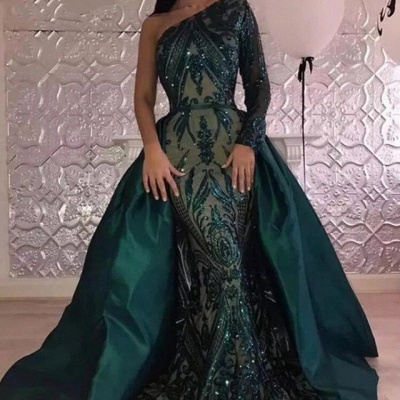 Emerald green One Shoulder Sequins Evening Dresses with Overskirt | Elegant Long sleeves Mermaid Prom Dresses BA7441_3