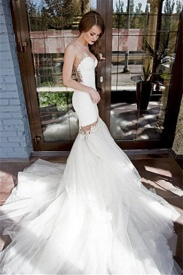 Sexy Backless Mermaid Wedding Dresses   Spaghetti Straps Appliques Bridal Gowns_1