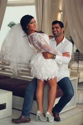 Mini Long Sleeve Lace Wedding Dresses Scoop A-Line Sexy Bridal Gowns_3