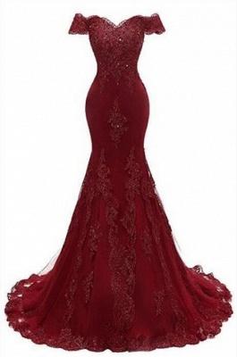 Великолепное платье для выпускного вечера Бургундии   Русалка Кружевные вечерние платья_1
