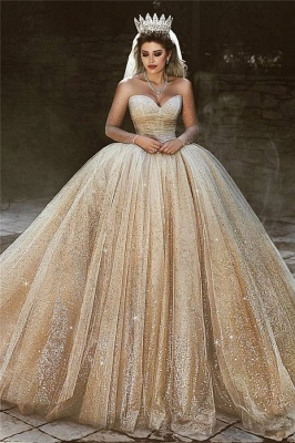 فاخر الشمبانيا الذهب الزفاف الالبسه   الترتر الأميرة الكرة بثوب فساتين الزفاف الملكي_1