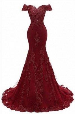 Magnifique robe de bal Bourgogne | Robes de soirée en dentelle sirène_1