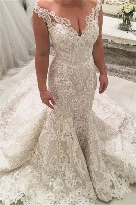 Mermaid Lace Cheap Wedding Dresses | Sleeveless Elegant Dresses for Weddings