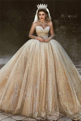 Luxury Champagne Gold Wedding Dresses | Sequins Princess Ball Gown Royal Wedding Dresses_1