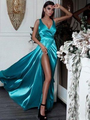 Türkis Seidensatin Sexy Abendkleider Günstige | V-Ausschnitt Split Sleeceless Abendkleider 2021 BC0244_3