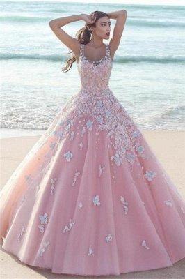 Elegante Rosa Abendkleider Blumen | Wunderschöne Spitze Abendmode A-Linie_1