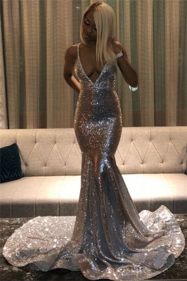 Wholesale Spaghetti Straps Sparkly Silver Sequins Prom Dresses | Sexy V-neck Open back Discount Evening Gowns