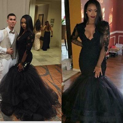 Sexy Black Long-sleeve Mermaid V-neck Lace Sweep-Train Prom Dress_2