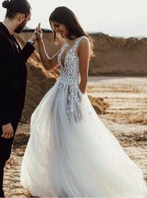 Sexy V-Neck Tulle Lace Appliques Robe de réception de mariage sans manches_3