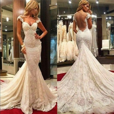 Fit and Flare Lace Wedding Dresses Cheap | Sheer Tulle Back Wholesale Bridal Gowns with Chapel Train_3