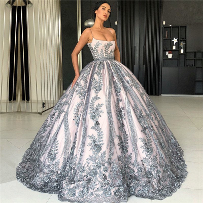 Spaghetti Straps Lace Appliques Evening Dresses | Luxury Princess Ball Gown Prom Dress 2019_3