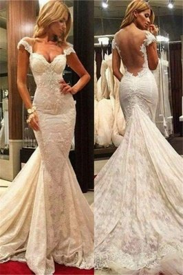Fit and Flare Lace Wedding Dresses Cheap | Sheer Tulle Back Wholesale Bridal Gowns with Chapel Train