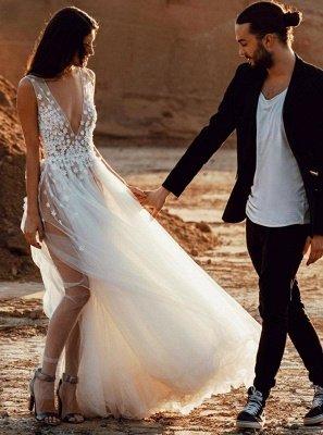 Sexy V-Neck Tulle Lace Appliques Robe de réception de mariage sans manches_1