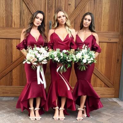Burgundy 2021 Bridesmaid Dress | Mermaid V-Neck Maid of Honor Dress_5