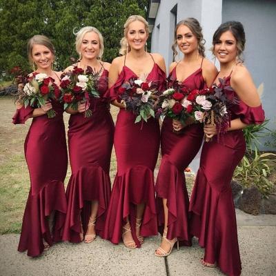Burgundy 2021 Bridesmaid Dress | Mermaid V-Neck Maid of Honor Dress_4