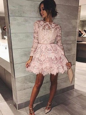 Chic Long Sleeves Homecoming Dresses  Scoop Pink Fashion Hoco Dresses_1