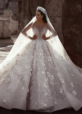 Luxury Beading Floral Bridal Gowns | Sheer Neck Long Sleeves Ball Gown Wedding Dresses_1