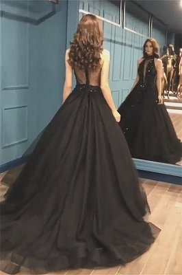 High Neck Black Tulle Sexy Prom Dresses Cheap 2019 | Sleeveless Beads Sequins Evening Gowns