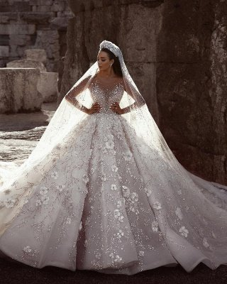 Luxury Beading Floral Bridal Gowns | Sheer Neck Long Sleeves Ball Gown Wedding Dresses_3