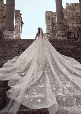 Luxury Beading Floral Bridal Gowns | Sheer Neck Long Sleeves Ball Gown Wedding Dresses_6
