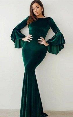 Robes de bal de velours de sirène vert 2021 | Manches évasées robes de soirée vintage_1