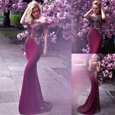 Off The Shoulder Formal Evening Dress Beads Appliques Mermaid Prom Dress with Gold Belt FB0175_5