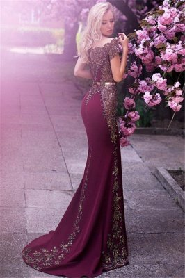 Off The Shoulder Formal Evening Dress Beads Appliques Mermaid Prom Dress with Gold Belt FB0175_3