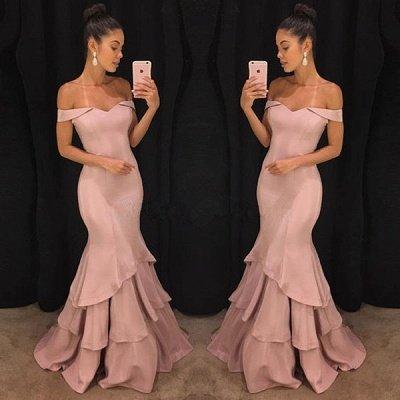 Sexy Schulterfrei Meerjungfrau Abendkleider Günstige    Elegante Rosa Abendkleider Online SK0118_3