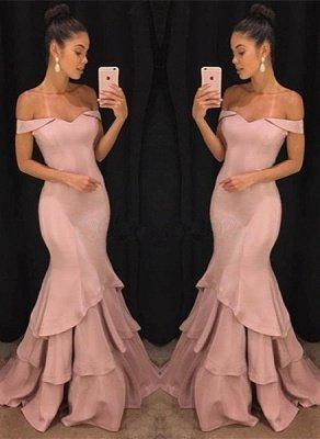 Sexy Schulterfrei Meerjungfrau Abendkleider Günstige    Elegante Rosa Abendkleider Online SK0118_1