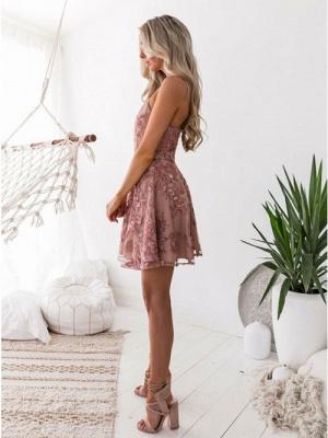 Elegante Rosa Cocktailkleider | Schöne Abikleider Blumen Applikationnen_3