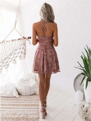 Elegante Rosa Cocktailkleider | Schöne Abikleider Blumen Applikationnen_4
