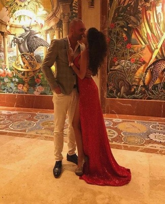 Sexy Red Sequin Prom Dresses | Halter Neck Backless High Slit Party Dresses_4