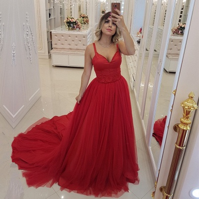 Sexy Red V-Neck Evening Dress | 2019 Mermaid Tulle Prom Dress_2