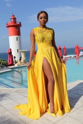 Yellow Chiffon Side Slit High Neck Sleeveless Sexy Long Prom Dresses_2