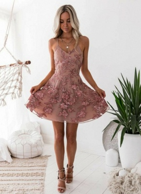 Elegante Rosa Cocktailkleider | Schöne Abikleider Blumen Applikationnen_1