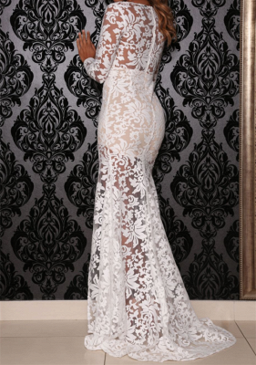 Sheer Mermaid Party Dresses Plunging Neck Long Sleeves Front Split Illusion Lace Sexy Evening Gowns_3