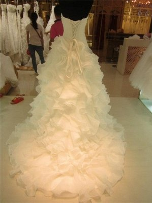Ruffles Tiered High Quality Wedding Dresses with Long Train Organza Bridal Dress_2