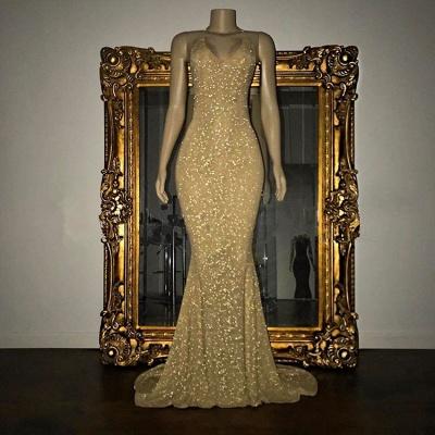 Vestido largo de fista | Impresionante con lentejuelas sirena correa de espagueti_5