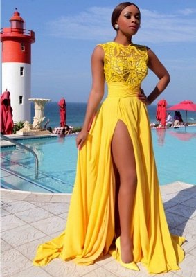 Yellow Chiffon Side Slit High Neck Sleeveless Sexy Long Prom Dresses