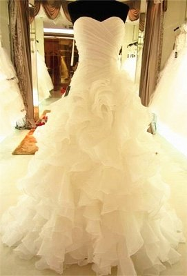 Ruffles Tiered High Quality Wedding Dresses with Long Train Organza Bridal Dress_1