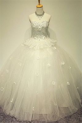 White Sweetheart Crystal Ball Gown Wedding Dress Applique Elegant Sexy Lace-up Tulle Bridal Gown_1