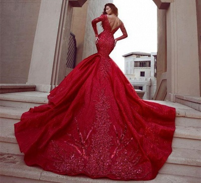 Stunning Long Sleeves Mermaid Evening Dresses with Train | Hot Backless Lace Crystal Prom Dresses BC0669_4