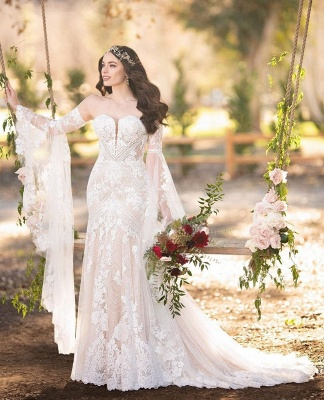 فساتين الزفاف الدانتيل الأبيض حبيبته أنيقة مع قطار الكنيسة_3