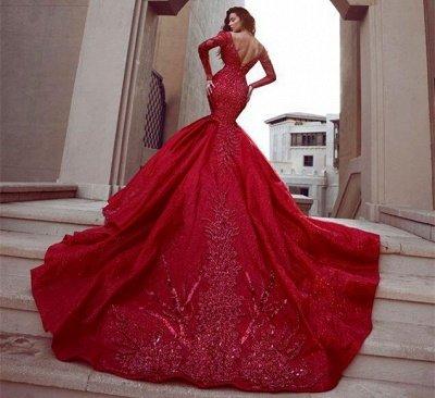 Glamouröse Langarm Meerjungfrau Abendkleider | 2021 rückenfreie Spitze Crystal Prom Kleider BC0669_4