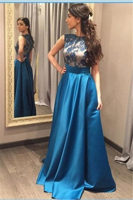 Glamorous Blue A-Line Sleeveless Appliques Zipper Prom Dress