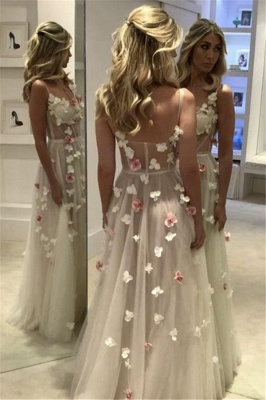 Spaghetti Straps Open Back Flowers Sexy Evening Gown Corset Illusion Tulle Prom Dress  FB0089_3