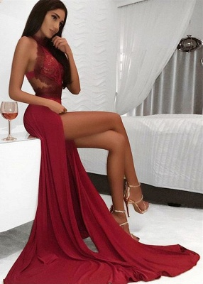 Sexy Burgundy High Neck Long Evening Dresses | Lace Open Back Prom Dress_1